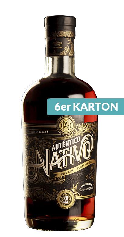 Auténtico Nativo - 20 Años de edad Ron - 6 x 70cl Botella de vidrio