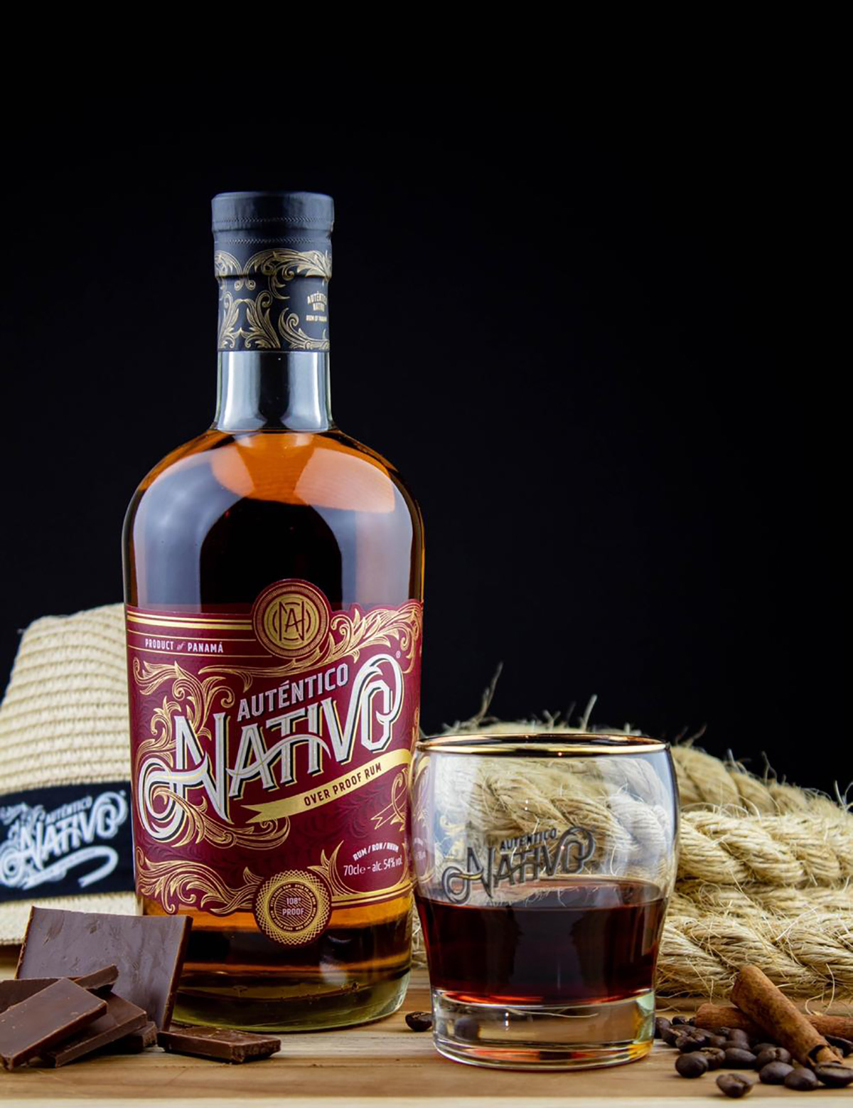 Auténtico Nativo - Overproof Rum - 1 x 700ml Glass Bottle