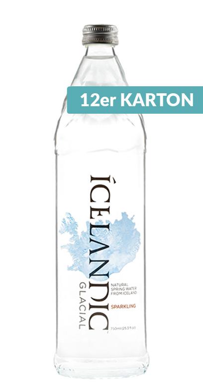 Icelandic Glacial Water - Iceland Premium Water, sparkling - 12 x 750ml Glass Bottle