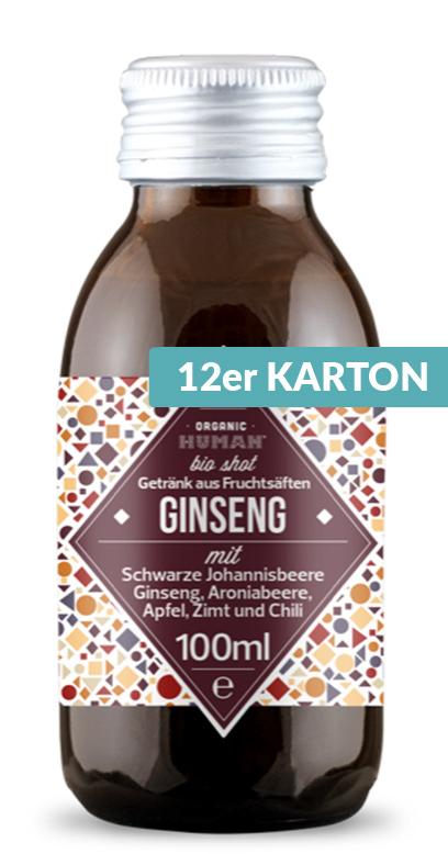 Organic Human - Bio Organic Shot, Ginseng - 12 x 100ml Glass Bottle