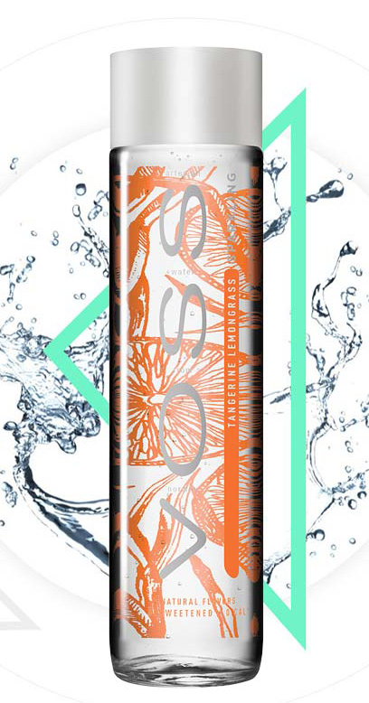 Voss Water - Premium Water - Tangerine and Lemongrass, sparkling - 1 x 375ml Glass Bottle