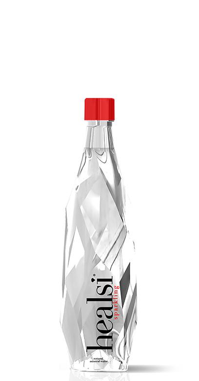 healsi Water - Diamond Bottle, crystal, sparkling - 1 x 400ml Glass Bottle