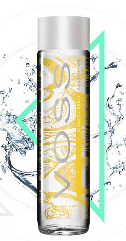 Voss Water - Premium Water - Lemon and Cucumber, sparkling - 1 x 375ml Glass Bottle