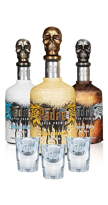 Tequila Bundle - ¡Compre los 3 tipos de Padre Azul (Anejo, Reposado, Blanco) y le añadimos 3 vasos de chupito GRATIS!
