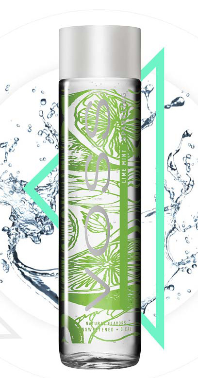 Voss Water - Premium Water - Lime and Mint, sparkling - 1 x 375ml Glass Bottle