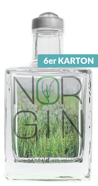 NorGin - Premium London Dry Gin - 6 x 500ml Glass Bottle