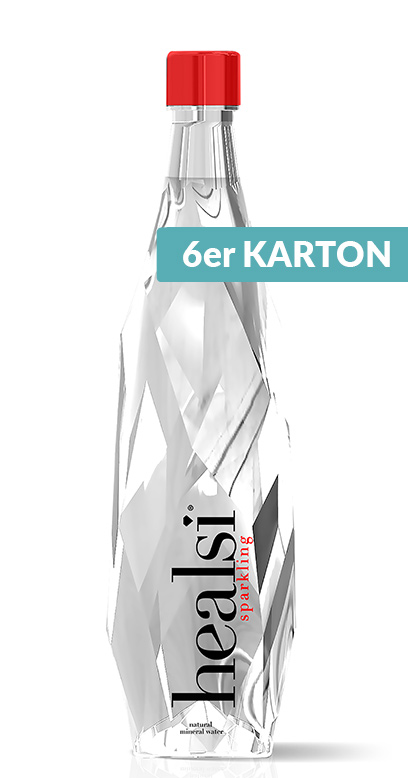 healsi Water - Diamond Bottle, crystal, sparkling - 6 x 850ml Glass Bottle