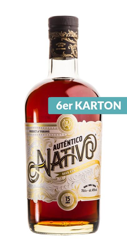 Auténtico Nativo - 15 Años de edad Ron - 6 x 70cl Botella de vidrio