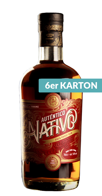 Auténtico Nativo - Overproof Rum - 6 x 70cl Botella de vidrio