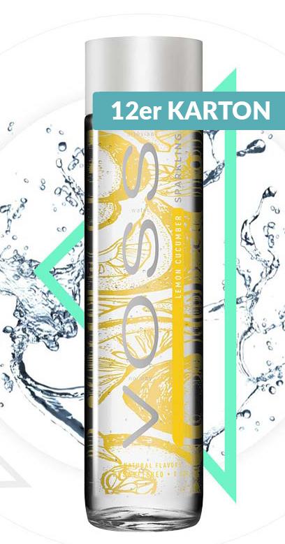 Voss Water - Premium Water - Lemon and Cucumber, sparkling - 12 x 375ml Glass Bottle